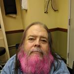 Resident Mark looks great with all of that pink in his beard!
