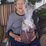 Frances Manweller won a beautiful raffle basket.